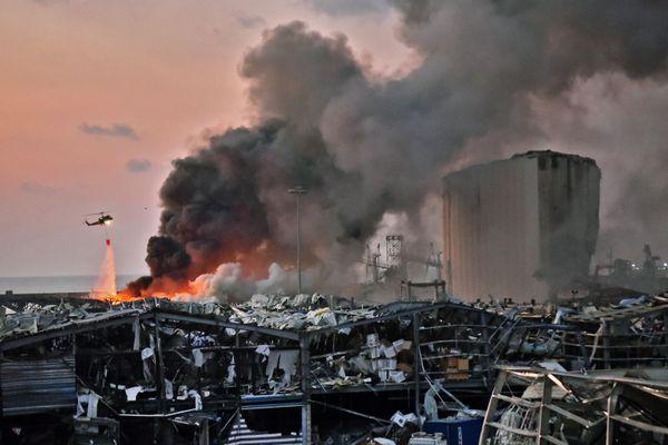 Le lieu de l'explosion, sur le port de Beyrouth.