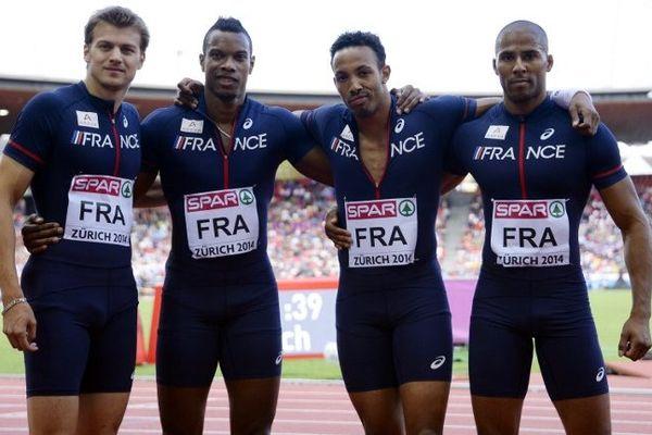 L'équipe du relais français 4X100m après sa qualification pour la finale des Championnats d'Europe d'athlétisme à Zurich.