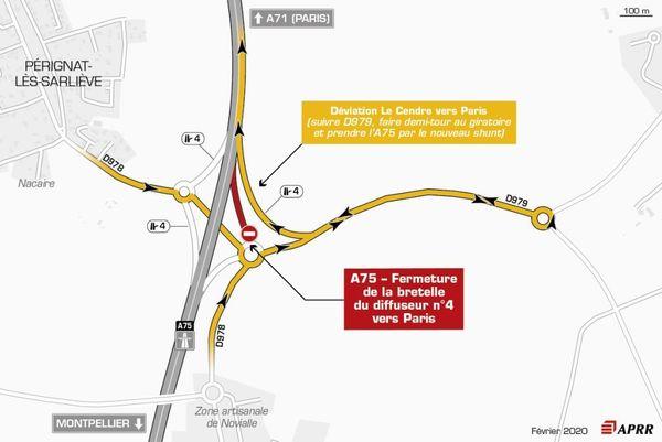 Lundi 24 février : fermeture de la bretelle d'entrée du diffuseur 4 Roche Blanche – Orcet dans le sens Montpellier vers Paris.