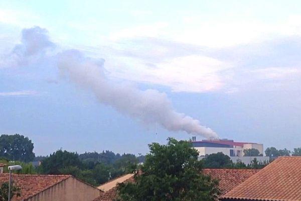 Une habitante de Lunel-Viel, inquiète, a pris une vidéo lors de l'incident technique qui a lieu à l'incinérateur samedi 26 mai.