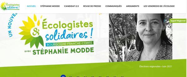 Capture d'écran du site de campagne de Stéphanie Modde le 17 mai 2021