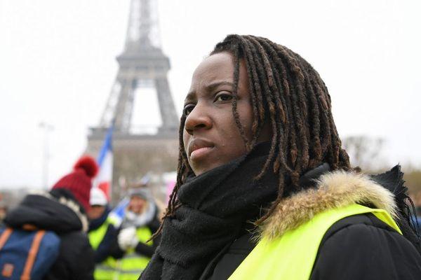 Priscillia Ludosky, figure des gilets jaunes originaire de Seine-et-Marne, à un rassemblement organisé pour les femmes du mouvement, dimanche 20 janvier à Paris.
