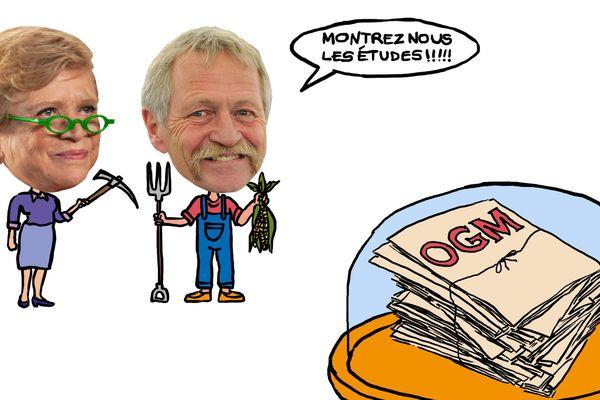 Eva Joly et José Bové, deux figures politiques écologistes anti OGM. L'étiquetage des produits contenant plus de 0.9 % d'OGM est obligatoire dans l'Union européenne depuis 2003.