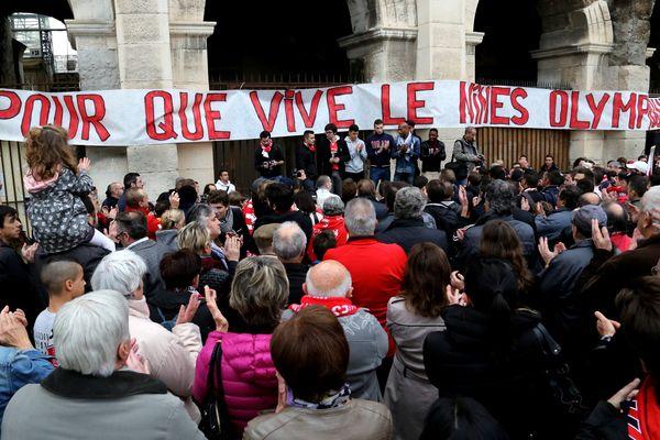 La manifestation des supporters du Nîmes Olympique le 22/11/2014