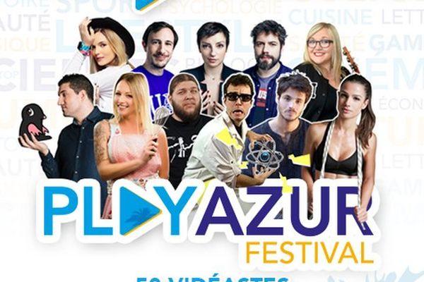 L'affiche du Play Azur Festival sur laquelle on peut voir une partie des vidéastes invités.