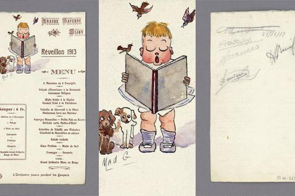Lors du souper du 31 décembre 1913 au restaurant La Grande Taverne, à Dijon, les convives doivent choisir entre une entrée, un potage et trois plats au choix. (BM Dijon, M III 547)