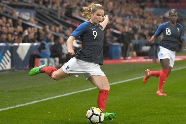 Archive : Eugénie Le Sommer, lors du match amical France - Canada, pour la préparation à la coupe monde féminine de football 2019.