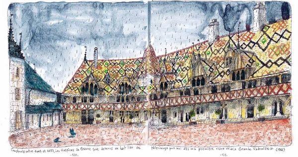 Fred Bernard a voulu rendre hommage à sa Bourgogne natale. On trouve dans son carnet plusieurs lieux emblématiques, comme ici les hospices de Beaune.