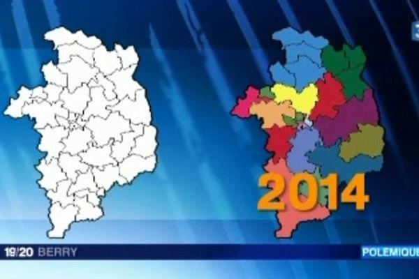 La réforme territoriale adoptée en avril 2013 prévoit de diviser par deux le nombre de cantons. Le département du Cher passe ainsi de 35 à 19 cantons.