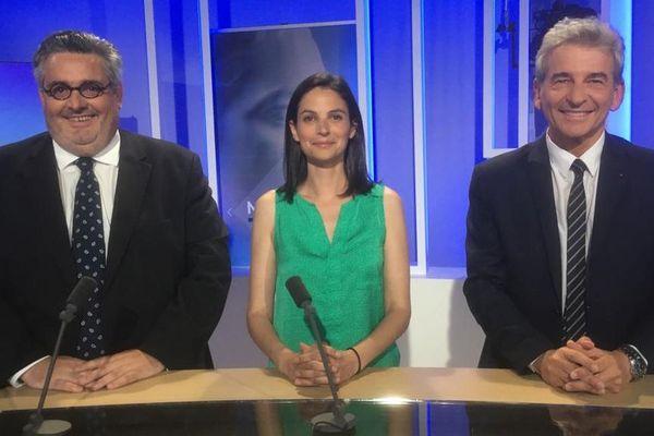 Olivier Bianchi, Marianne Maximi et Jean-Pierre Brenas, les candidats pour l'élection municipale à Clermont-Ferrand sur le plateau de France 3 Auvergne.