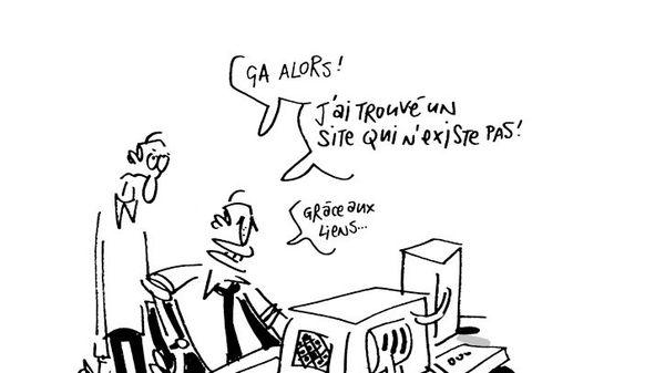 Page d'accueil du site de Frédéric Thouron, preuve de son humour.