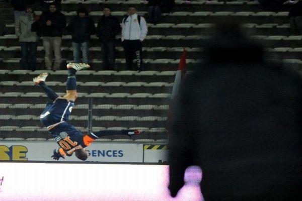 Annecy (Haute-Savoie) - Younès Belhanda renversant durant le match de L1 contre Evian/Thonon. Il marque le but de la victoire à la 80e - 23 février 2013.