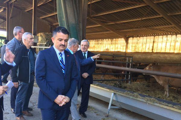 Le ministre turc de l'Agriculture Bekir Pakdemirli a visité une exploitation d'élevage de limousines jeudi 4 octobre à Romagnat (Puy-de-Dôme).