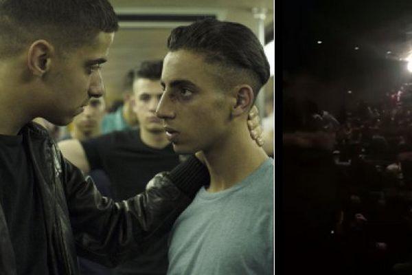 A gauche, une photo extraite du film Black. A droite, des images de la bagarre dans le Kinepolis.