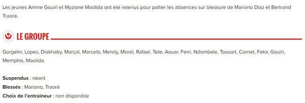 AS Nancy Lorraine vs Olympique Lyonnais : le groupe de Lyon