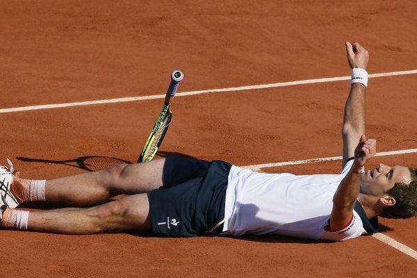 Le Sérignanais Richard Gasquet après sa qualification pour les huitièmes de finale à Roland Garros - 30 mai 2015