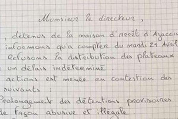 Courrier adressé par de nombreux détenus de la prison d'Ajaccio au directeur de l'établissement