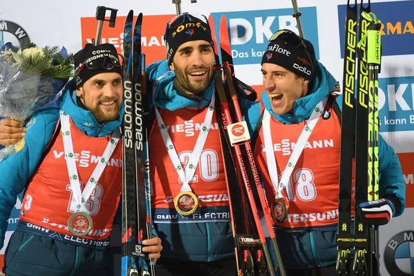 Magnifique podium français en Individuel (20 km) à Östersund lors de la première étape de la Coupe du monde de biathlon - 4 décembre 2019.