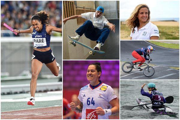 Quinze athlètes originaire d'Aquitaine disputeront les Jeux Olympiques de Tokyo qui débutent ce vendredi 23 juillet. De gauche à droite, Maroussia Paré (Athlétisme), Vincent Milou (Skateboard), Alexandra Lacrabère (Handball), Pauline Ado (Surf) et Marie-Zélia Lafont (Kayak).