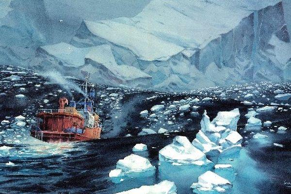 L'arrivée de l'équipage en Antarctique, dessinée par Emmanuel Lepage