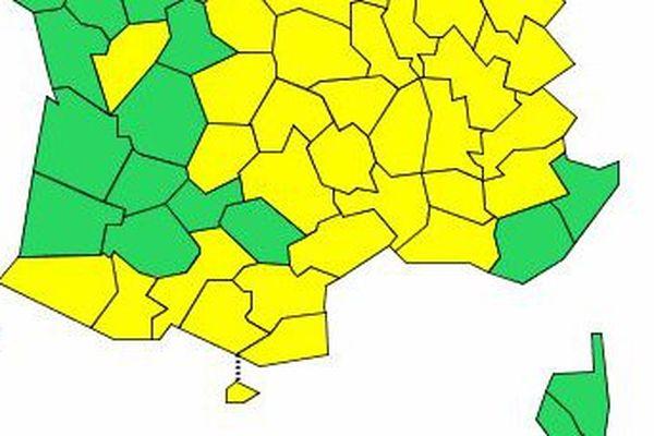 Carte de vigilance météo France à 16 heures.