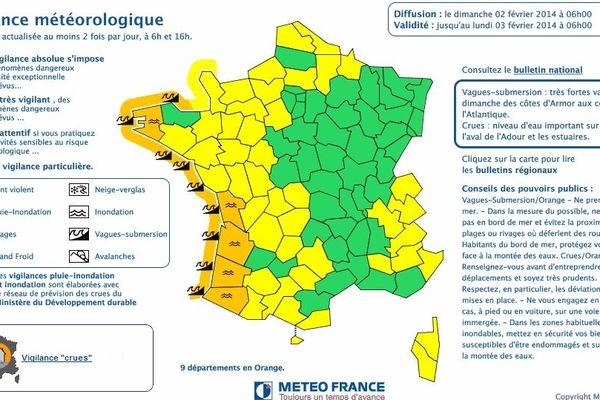 Carte Météo-France dimanche 2 février