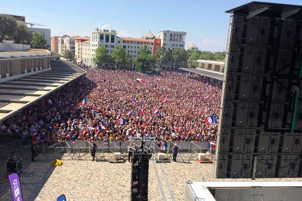 Fan-zone à Montpellier lors de la finale de la coupe du monde, le 15 juillet 2018