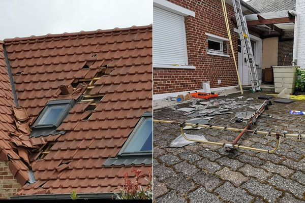 Des habitations endommagées mercredi soir à Cauroir, près de Cambrai.