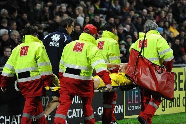 Face à Montpellier, l'attaquant nantais est sorti à la 51ème minute sur blessure.