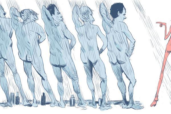 Pour la première douche collective, il n'est pas toujours facile de se mettre à nu