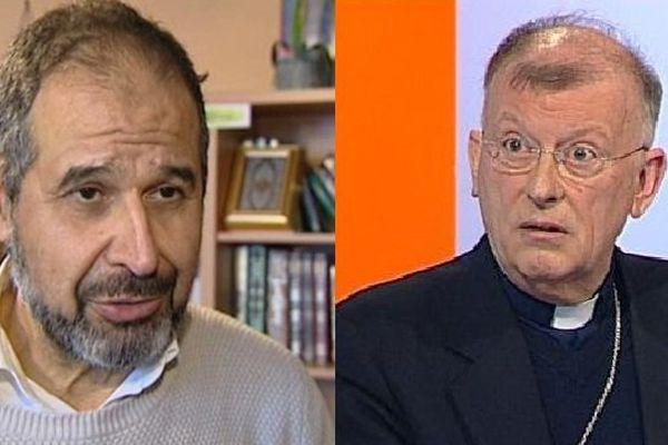 Mohamed Ateb président de la Jeunesse Musulmane de France en Bourgogne et monseigneur Minnerath, archevêque de Dijon, se sont dits indignés par les attentats de Paris ce vendredi 13 novembre
