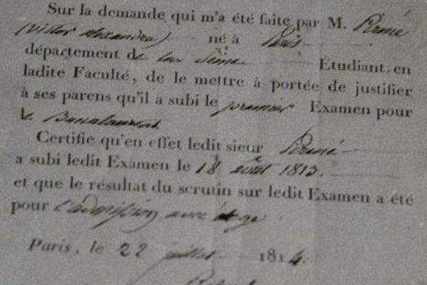 L'un des premiers diplômes du baccalauréat, délivré en 1812 par la faculté de droit de Paris.
