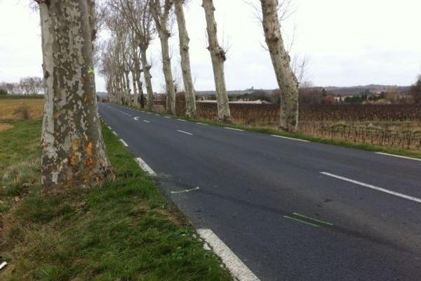 La route où la voiture a fini sa course dans un platane