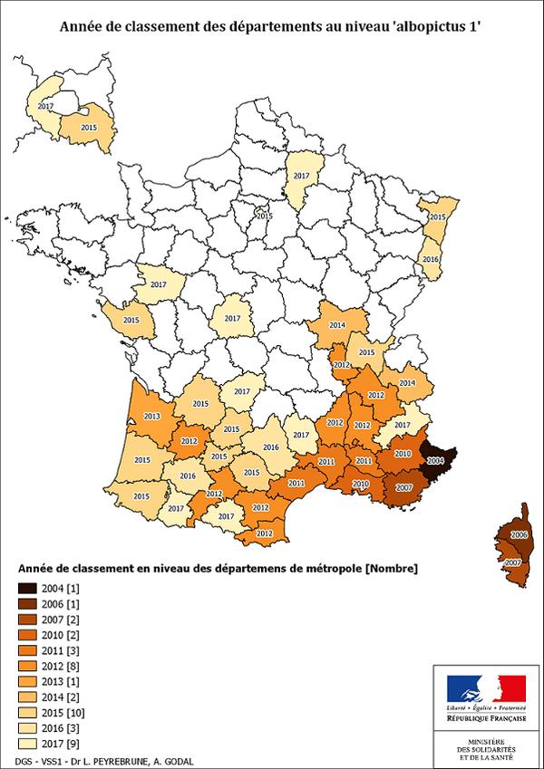Carte de la progression du moustique tigre en France