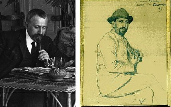 Antonin à gauche, Auguste peint par Emile Friant à droite