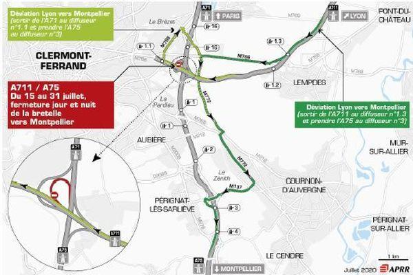 Jusqu'au 31 juillet, des fermetures de bretelles sont programmées sur l'A75.