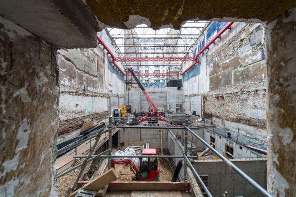 Construction des dessous et de la cage de scène de La Scala, Janvier 2018