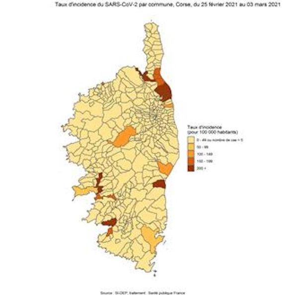 Les taux d'incidence en Corse dépassent les 200 cas positifs pour 100.000 habitants dans certaines zones de l'île.