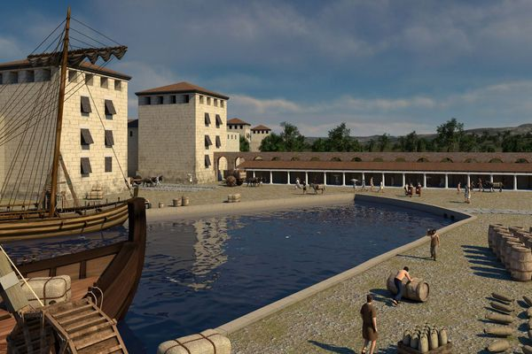 Vue reconstituée du Port antique de la ville de Marseille (Bouches-du-Rhône).