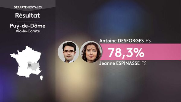 Les résultats du 1er tour des élections départementales à Vic-le-Comte (Puy-De-Dôme).
