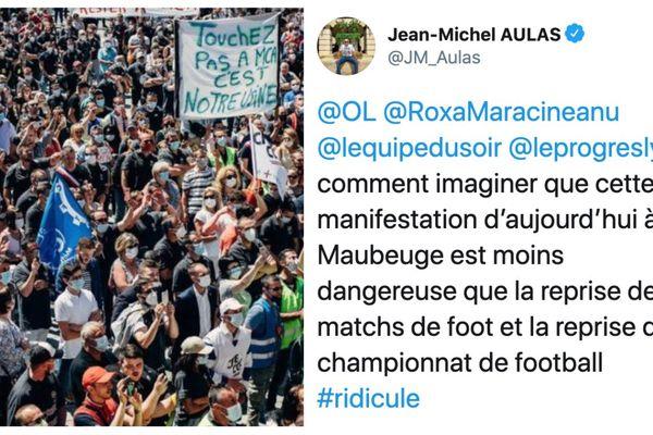 Le président de l'Olympique Lyonnais s'est étonné de la manifestation MCA de Maubeuge