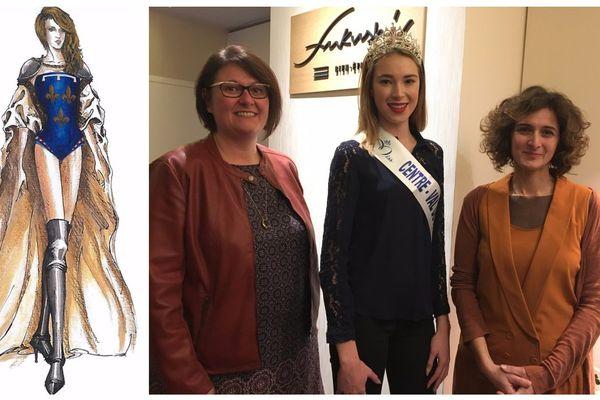 Céline Bailly, chef d'entreprise balgentienne (elle est gérante du Centre de bien-être Fukushi situé à Beaugency), fait aussi partie de l'aventure pour la création du costume régional. Passionnée de mode, elle est la mécène du projet. Athéna Pournara, créatrice du costume régional du Centre-val de Loire pour l'élection miss France 2018 accompagnée de Marie Thorin, Miss Centre-Val de Loire
