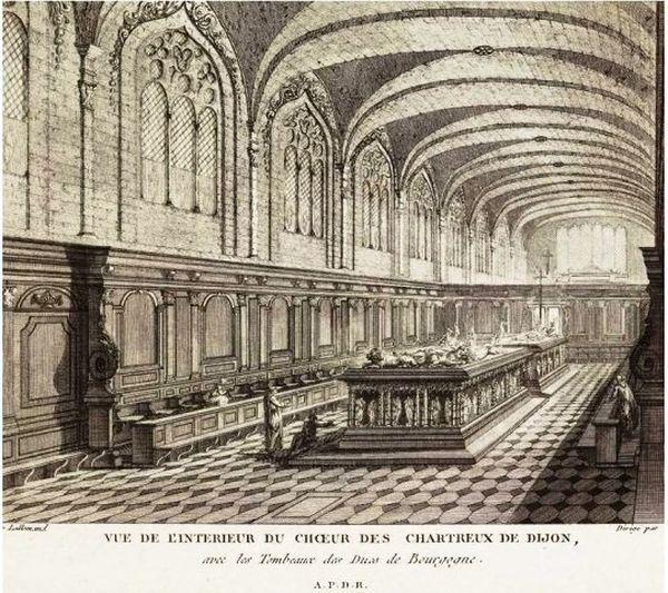 Jean-Baptiste Lallemand -  L'intérieur du choeur des Chartreux de Dijon - Eglise de l'ancienne Chartreuse de Champmol avant la révolution - Gravure -