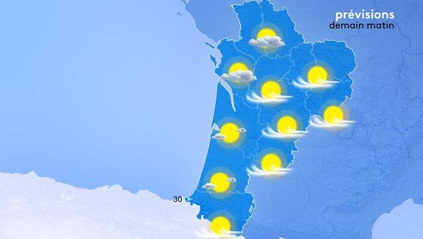 Les températures minimales seront moins froides mais encore basses. Il fera de 1 degré sur l'Est à 10 degrés au Pays Basque.