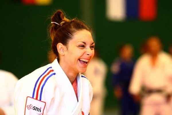 Automne Pavia lors du stage international de judo féminin avant les JO de Rio