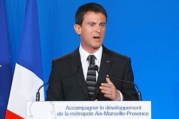 Manuel Valls lors de son allocuion à Marseille ce vendredi.