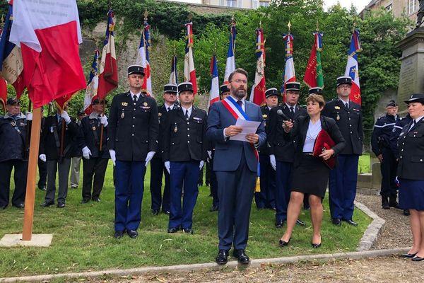 Inauguration du square Arnaud Beltrame ce lundi 18 juin 2018 à Avranches, dans la Manche.