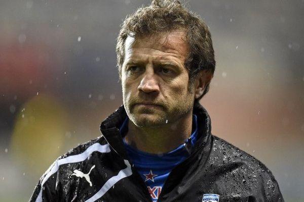 L'entraîneur du MHR, Fabien Galthié, a le visage des mauvais jours après le défaite de son équipe face à Bath en coupe d'Europe de rugby - 5/12/1014