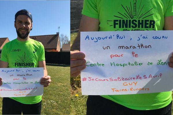 David et Guy ont couru leur marathon en 5h30 chacun ce matin.