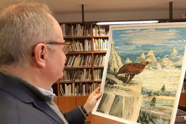 Cette illustration issue du Hobbit, représentant l'aigle venu à la rescousse de Bilbo, sera bientôt créée en version tapisserie.